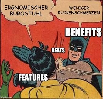 Meme Batman ohrfeigt Robin: Benefits beats features