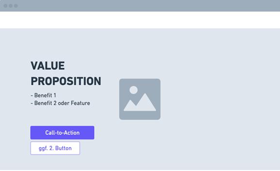 Beispielhafter Aufbau eines Headers mit Value Proposition. Tool: whimsical.