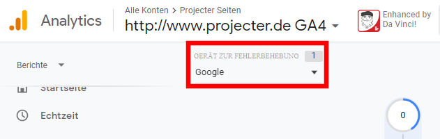 Screenshot Google Analytics DebugView