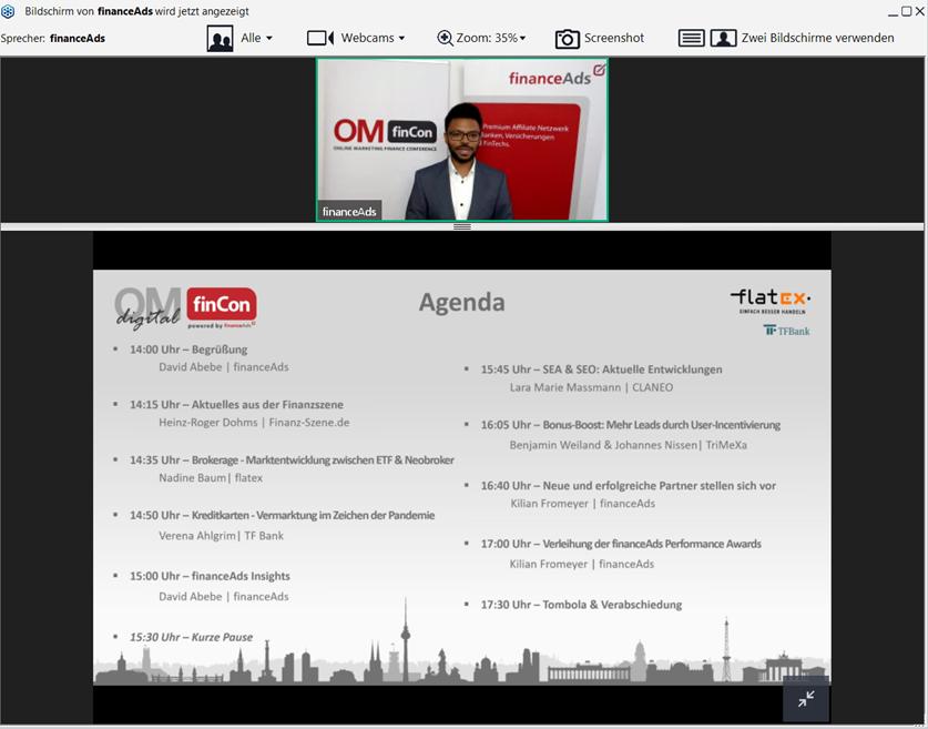 Screenshot Die Agenda der diesjährigen OMfinCon digital und Begrüßung durch Geschäftsführer David Abebe