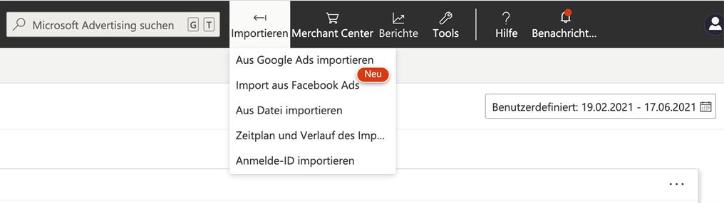 Screenshot Import von Kampagnen aus Google Ads