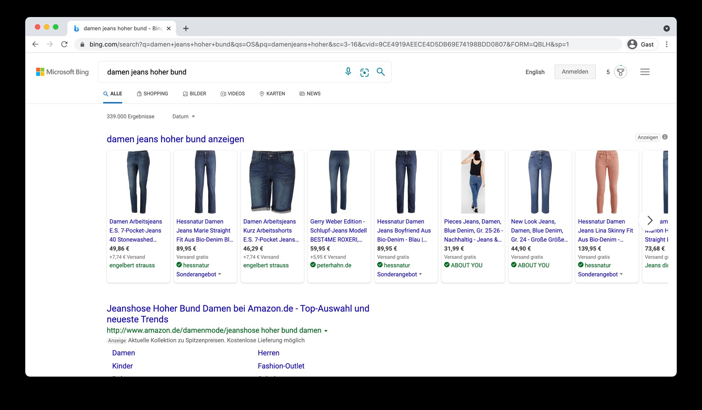 Screenshot Suchergebnis Bing