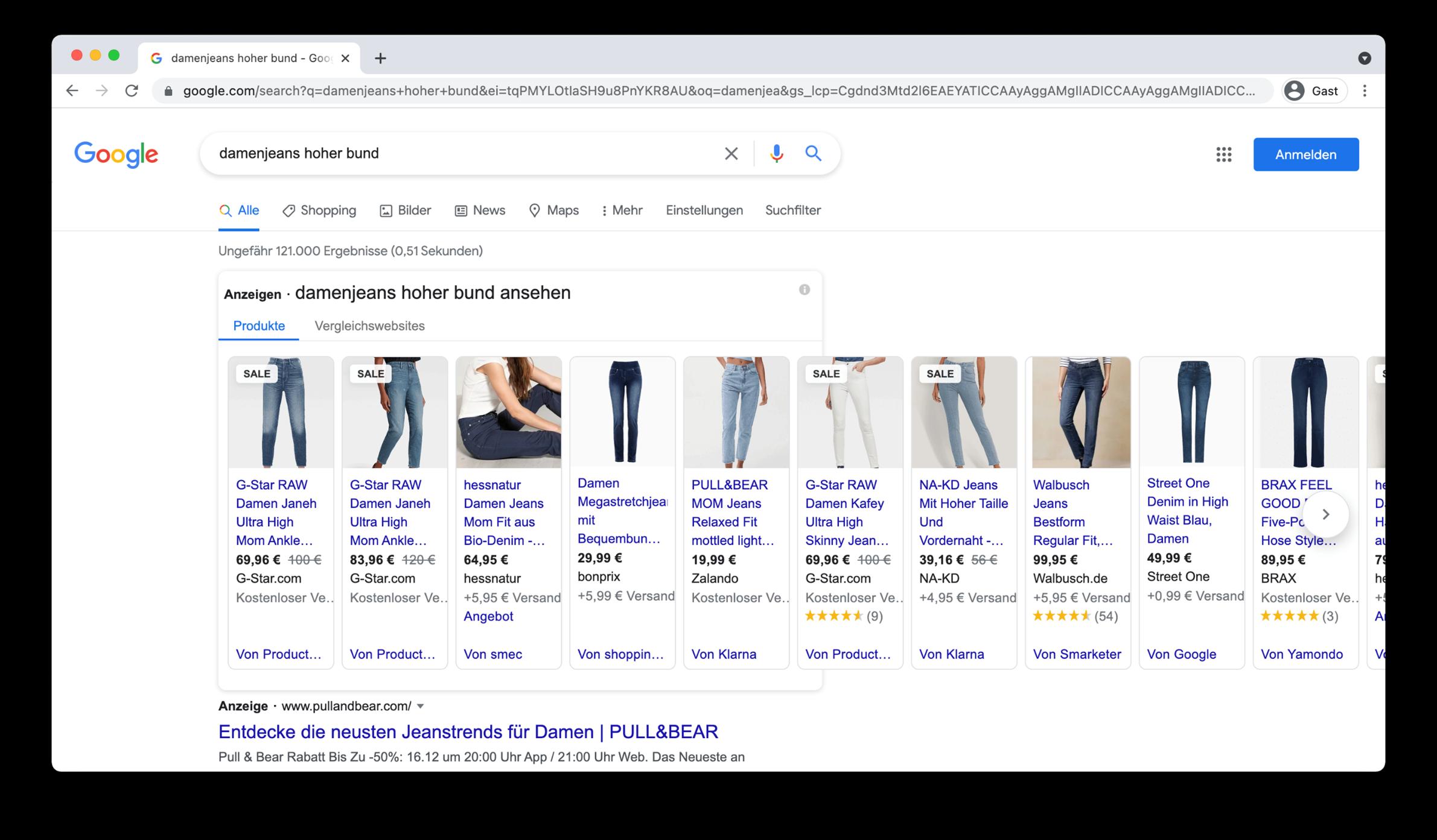 Screenshot Suchergebnis Google