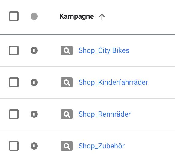 Screenshot Kampagnenstruktur nach Shop-Kategorien