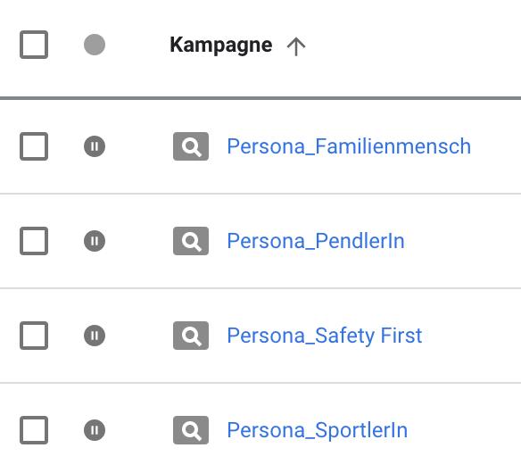 Screenshot Kampagnenstruktur nach Personas