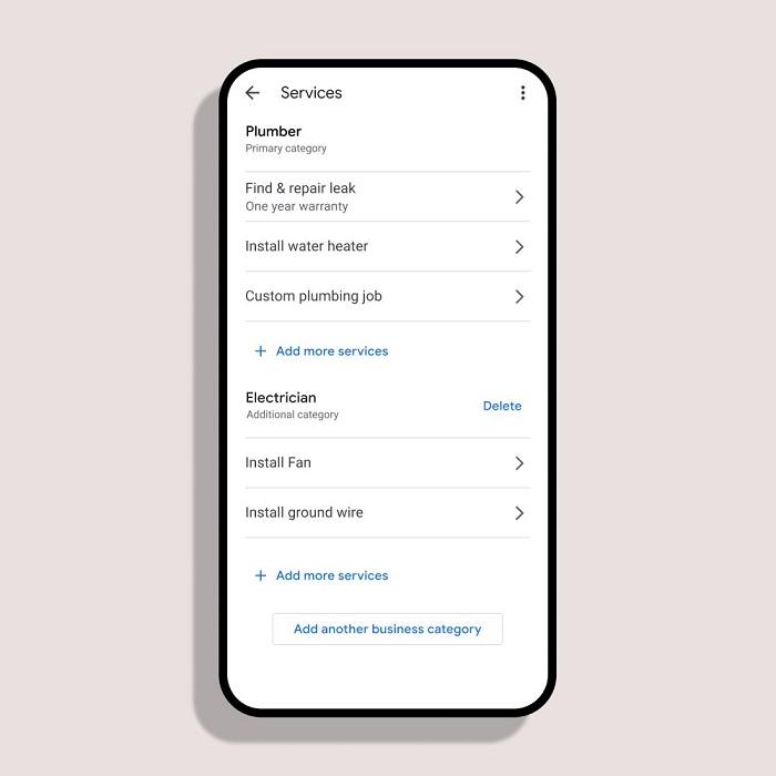 Screenshot Serviceleistungen im Google-My-Business-Profil