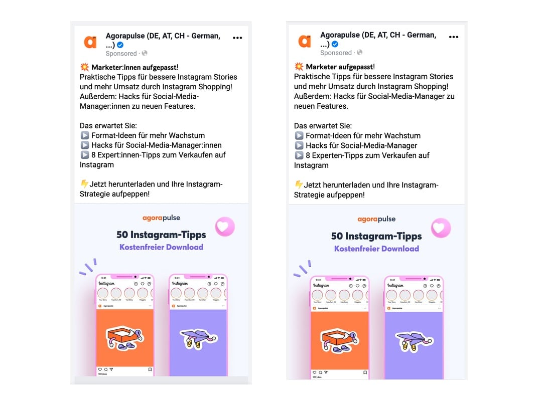 Screenshot Facebook Gendern in der Ad Copy