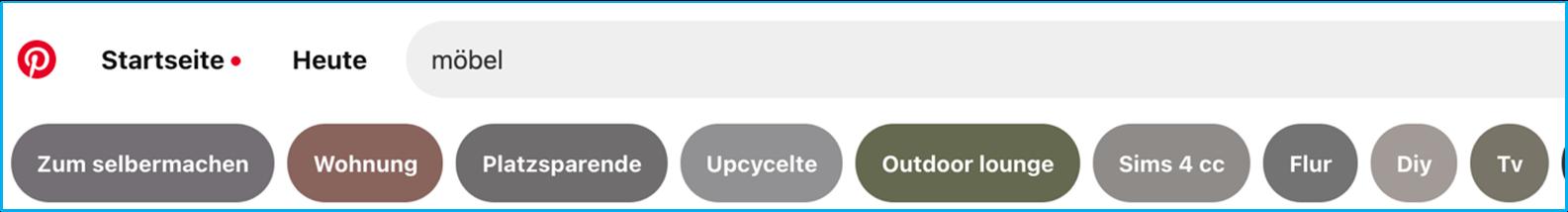 Screenshot Guided Search in der Pinterest Suche