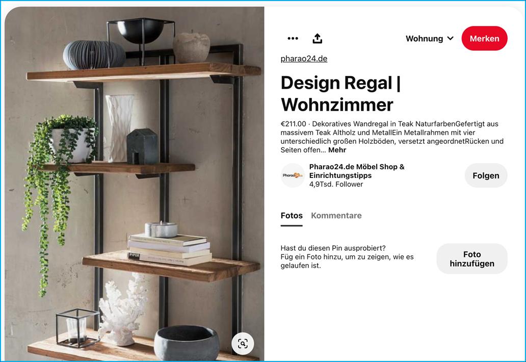 Screenshot Pinterest Produkt ,,Rich Pin'' von Pharo24.de
