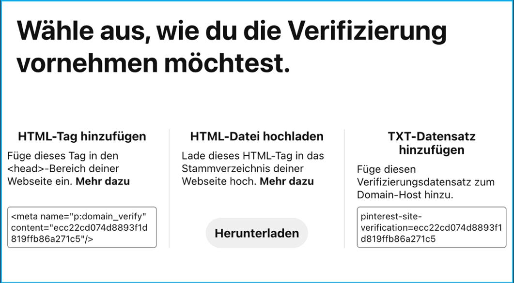 Screenshot Verifizierung der Domain in den Pinterest Einstellungen