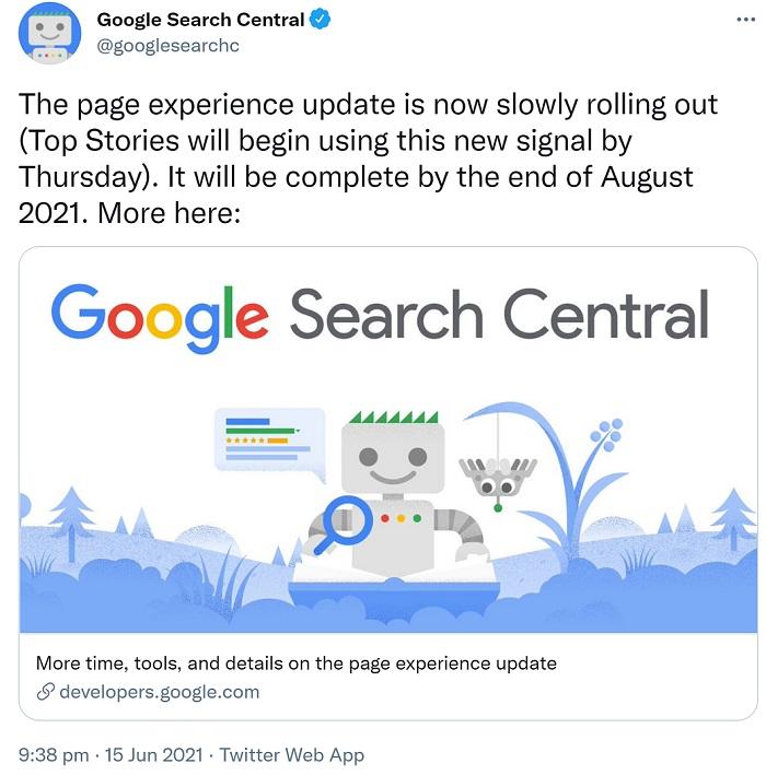 Screenshot Googles Ankündigung zum Start des Page Experience Updates auf Twitter