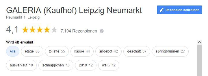 Screenshot Google Place Topics am Beispiel von Galeria Kaufhof in Leipzig