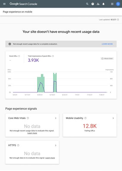 Screensot Eindeutiger Hinweis für nicht ausreichende Daten in der Google Search Console