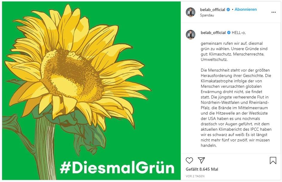 Screenshot Instagram Post von Bela B zur Bundestagswahl