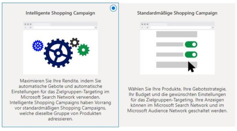 Smart-Shopping-Kampagnen bei Microsoft Advertising als Auswahlmöglichkeit