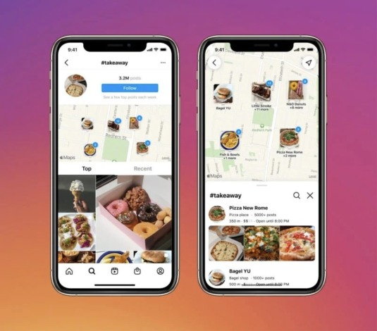 Zu sehen ist eine in der Instagram-App eingebettete Kartensuche