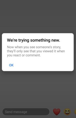 Zu sehen ist die Benachrichtigung von Instagram, dass Story-Views nicht mehr transparent gemacht werden, wenn man nicht kommentiert oder teilt